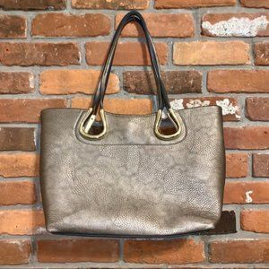 Handbags - Metallic Tote With Gold Hardware Magnetic Closure